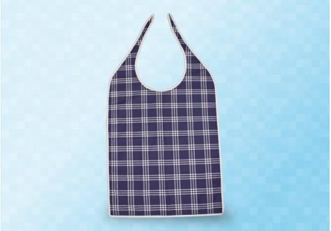Bavoir-serviette à nouer motif carreaux bleus enduit PVC